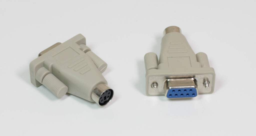 PS/2 MiniDin6 Female to DB9 Serial Female Mouse Adapter Beige