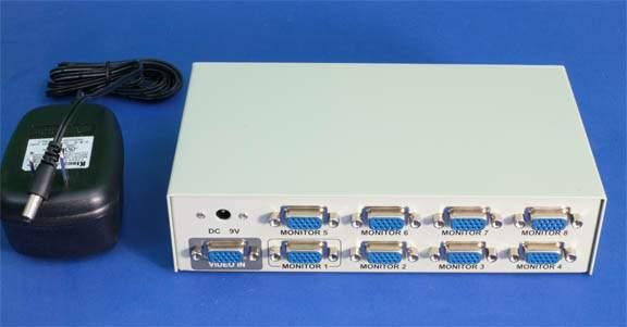 1 PC to 8 Monitors SVGA AMP Splitter