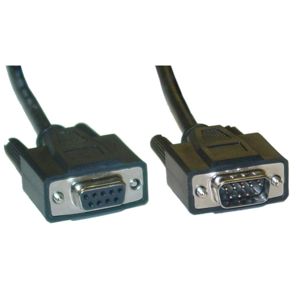 15FT DB9M to DB9F Serial Cable Black