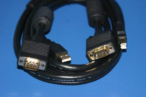 15FT Video HD15 Male to Male USB Type  to USB Type B KVM CABLE