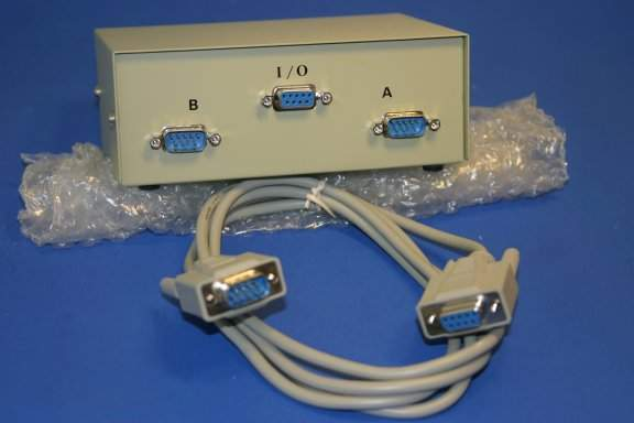 2 DB9M SERIAL DEVICE to 1 DB9F SERIAL PORT SWITCH with Cable