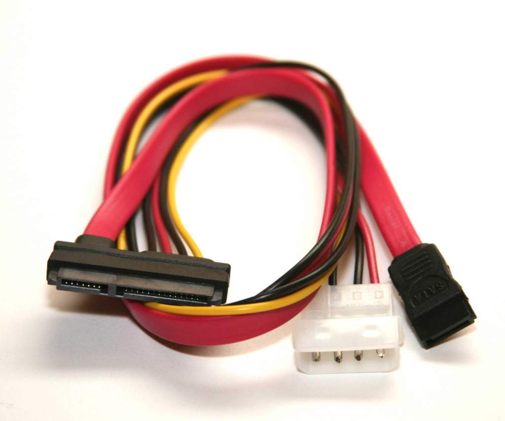 20 Inch SATA-7 + SAS-15P to SATA 4-pin Power Cable
