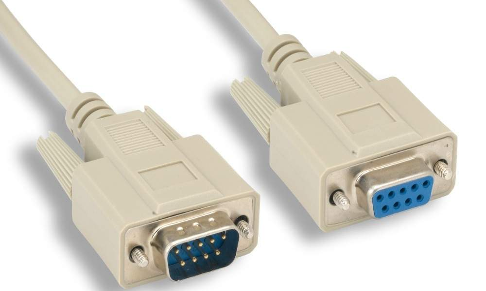 3FT DB9M to DB9F Serial Cable BEIGE