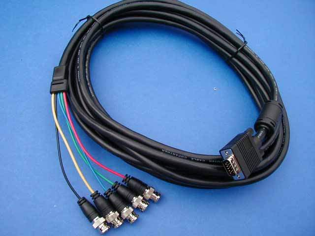 5 BNC TO SUPER VGA HD15-M CABLE 25FT