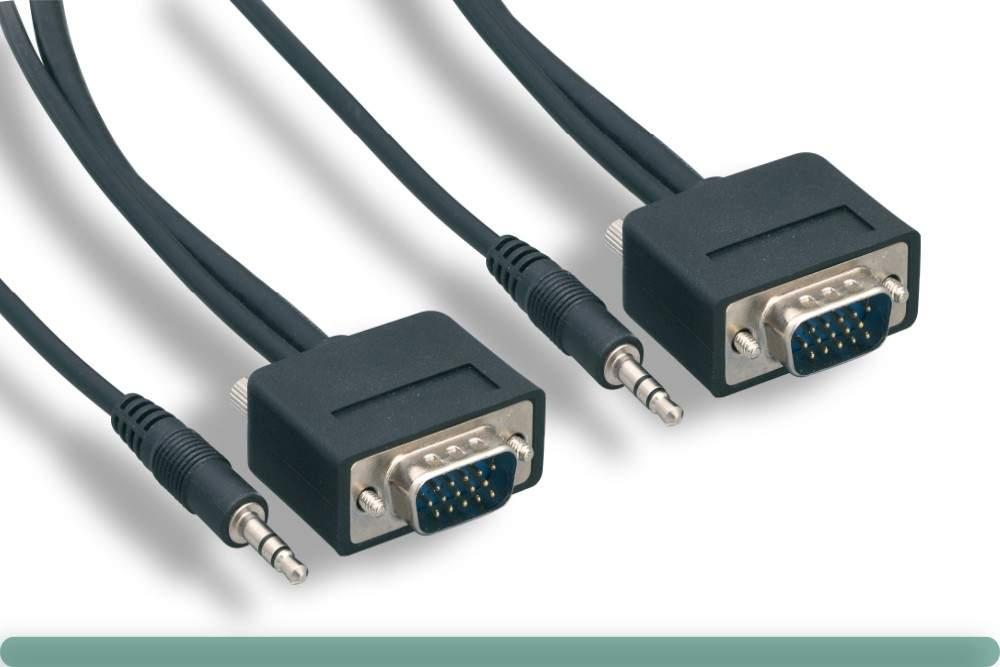 50FT SLIM SVGA PLUS Audio HD15 Male to Male 50 Feet