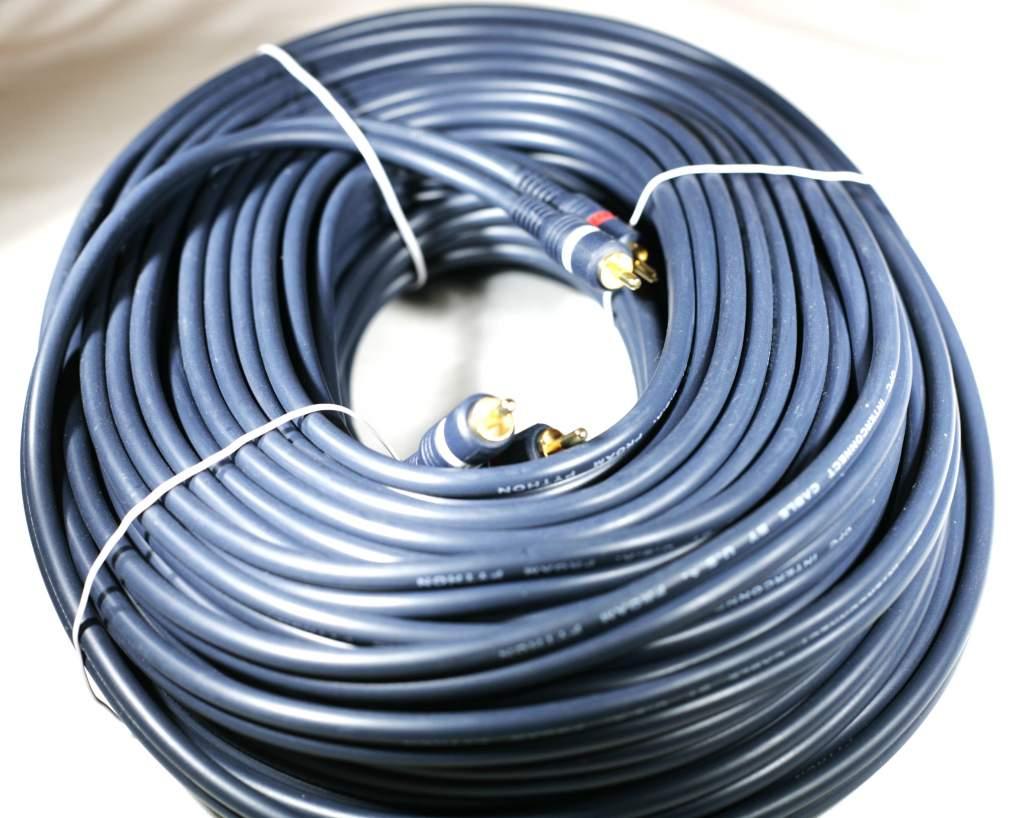Audio Cable 100FT RCA-M RCA-M Shielded Blue