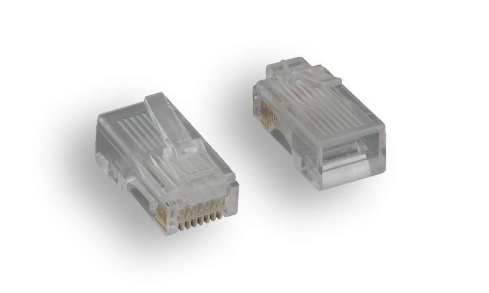 CAT5e RJ45 8P8C Modular plug Crimps 100 Pack Stranded-Round 50 Micron