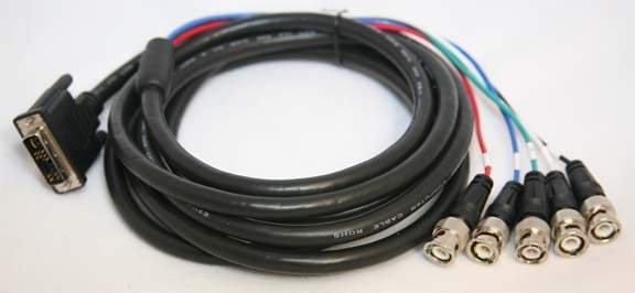 DVI-A to 5-BNC Cable Ferrite 10FT
