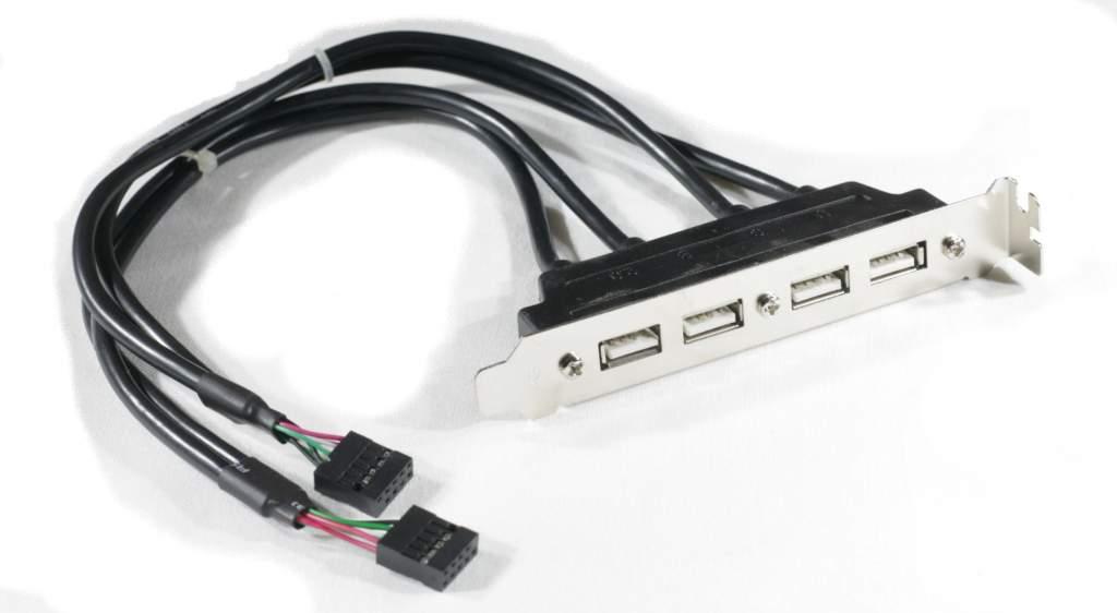 Dual 9 Pin Motherboard Header Quad 4 USB 2.0 Female Port Cable Rear Slot Bracket