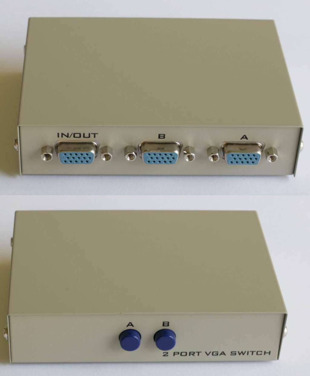HDDB15 Switch BOX 2 Computers to 1 SVGA Monitor Switch Push Button