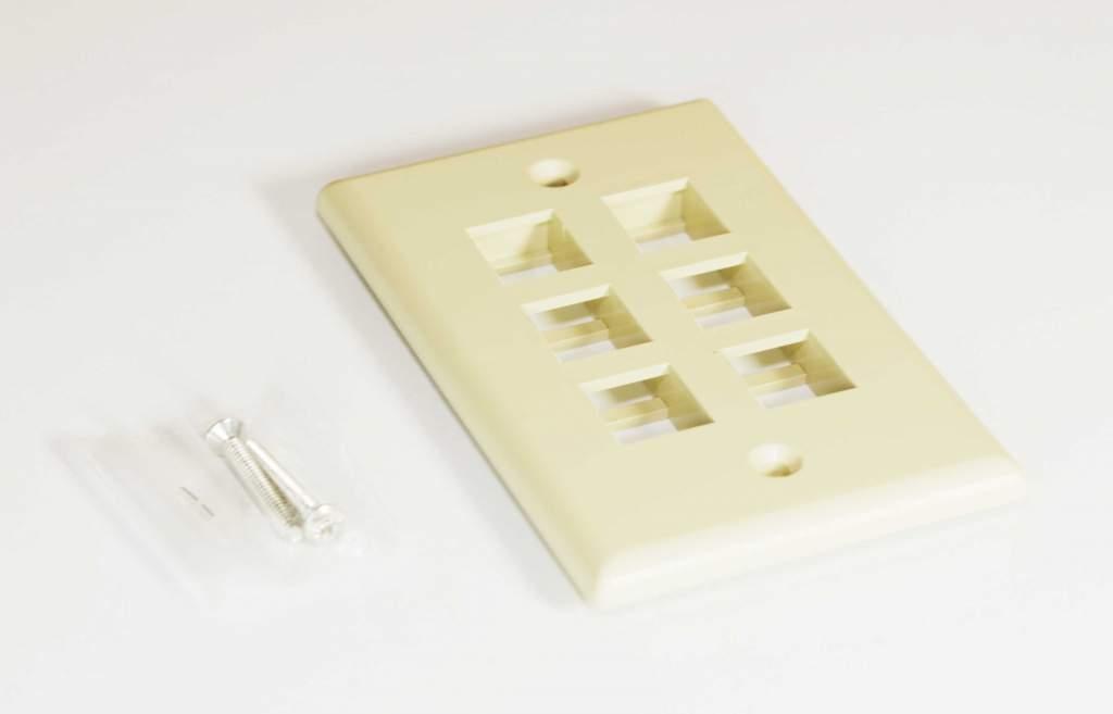 KEYSTONE Wall Plate 6-hole Ivory
