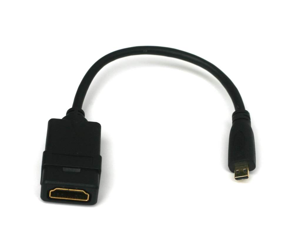 Micro HDMI Type-D Male to HDMI Type-A Female Adapter cable 8 inch 1.4 Premium