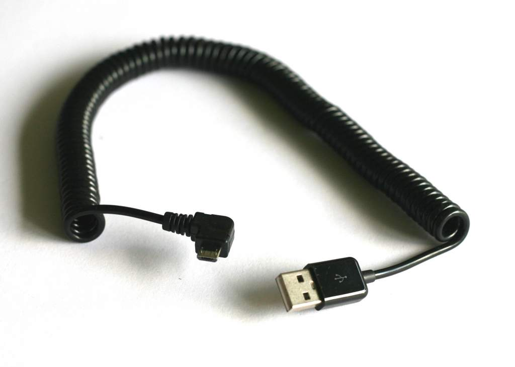 MicroUSB Cable MICRO-B Coiled Black