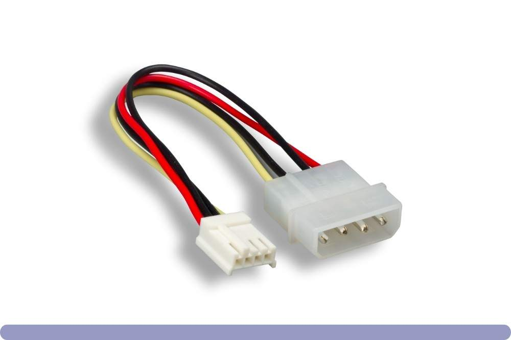 Power Cable 5.25 to 3.5 Adapter Molex 6 Inch