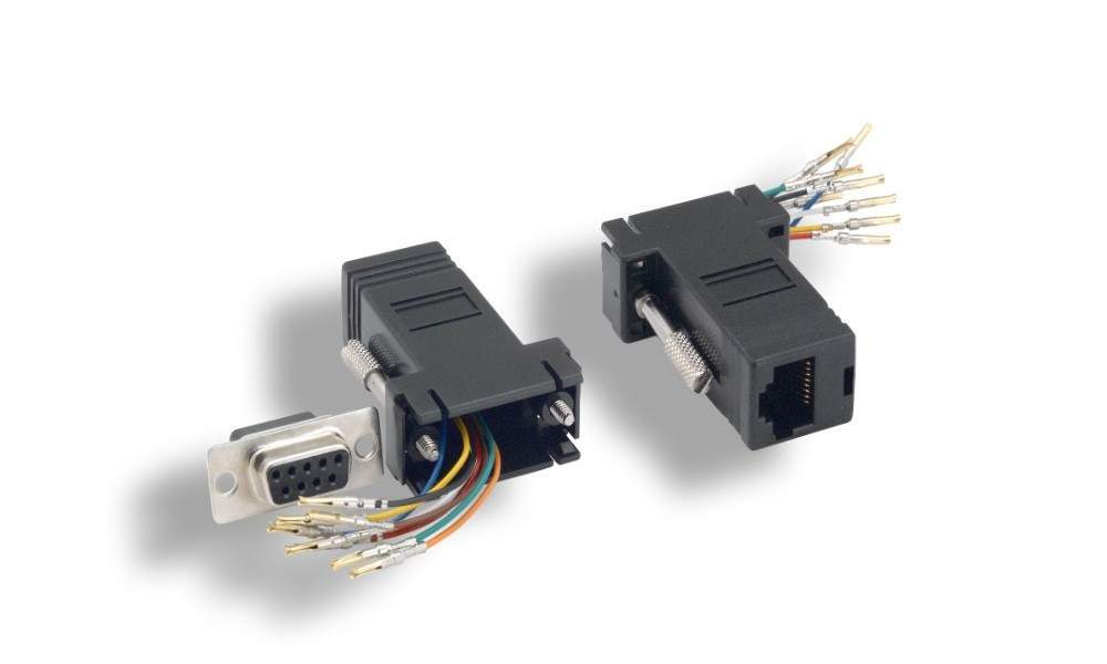 RJ45 to DB9-Female Adapter Black RS232 Modular DB9F