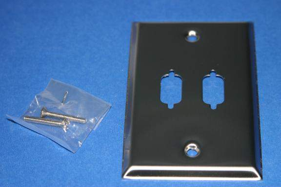 Stainless Steel VGA Wall Plate DB9 or HD15 2-Hole