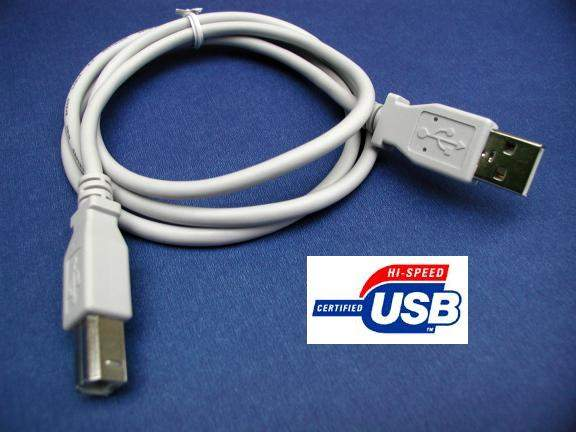USB 2.0 COMPUTER CABLE TYPE A to TYPE B WHITE 3FT ROHS