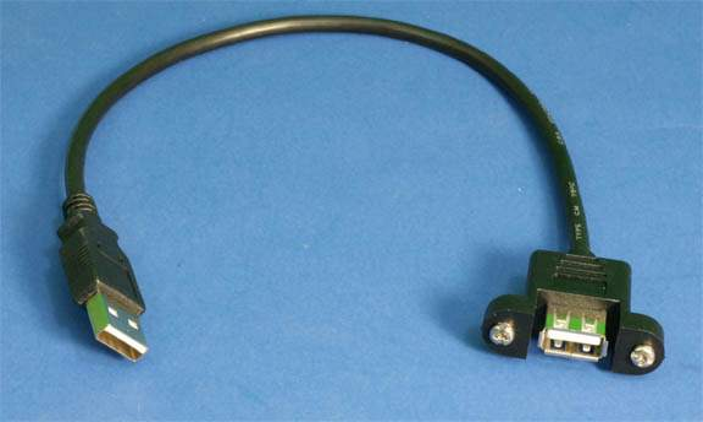 USB 2.0 Panel Mount Cable Single Port Bulkhead Cable Male-Female 1Ft