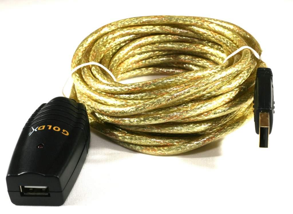 USB ACTIVE Extension Cable PREMIUM Gold 16FT 5M Goldx 1.1 2.0