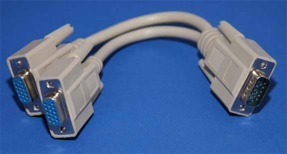 VGA PORT to TWO Monitor 6IN VGA Splitter Cable HD15 Male Female Female