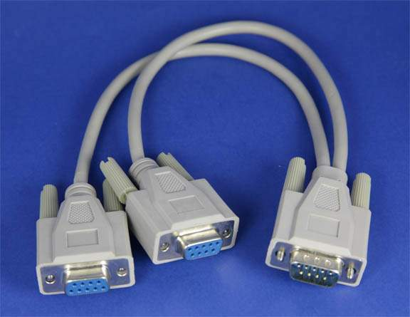 Y-SPLITTER SERIAL CABLE DB9-Male to DB9-Female DB9-Female 12IN