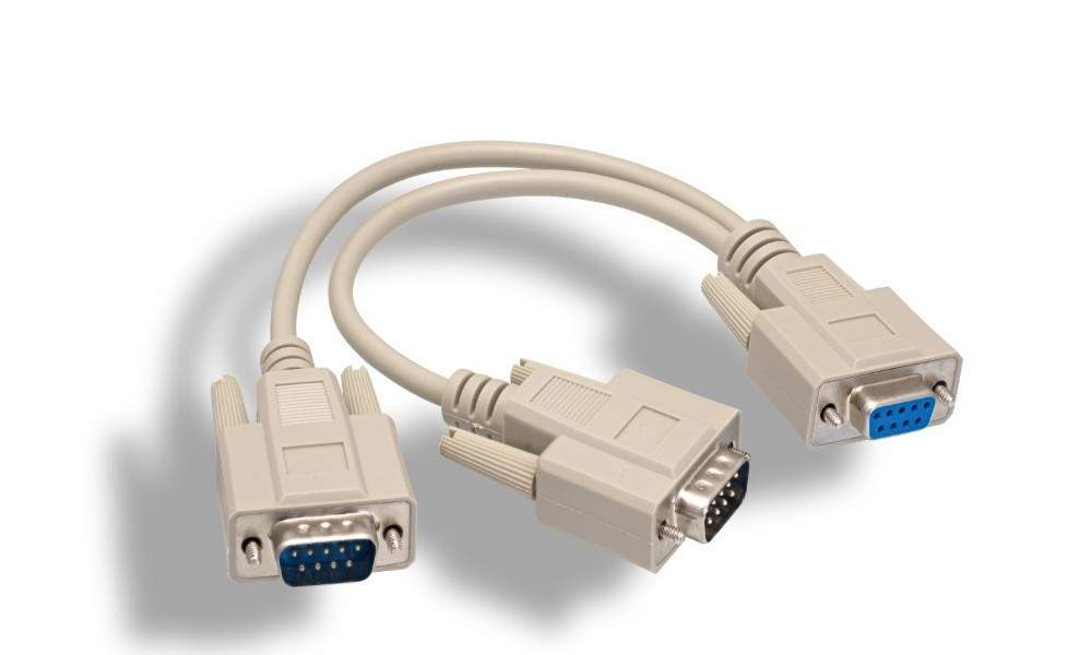 Y-Splitter Serial Cable DB9-Female to DB9-Male DB9-Male 12IN